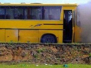 Автобус с ученици пламна в движение
