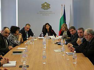 Министър Кунева проведе първа среща с отрасловия съвет