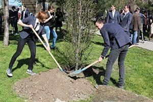 Ученици засадиха дръвчета в памет на загинали връстници
